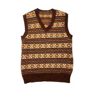 Vntg 70s Knit Cropped Vest Brown Orange V-Neck XS